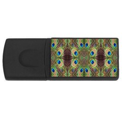 Beautiful Peacock Feathers Seamless Abstract Wallpaper Background Usb Flash Drive Rectangular (4 Gb) by Simbadda