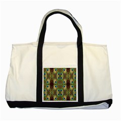 Beautiful Peacock Feathers Seamless Abstract Wallpaper Background Two Tone Tote Bag by Simbadda