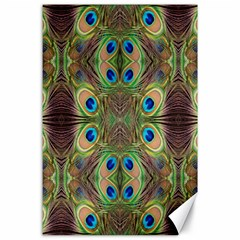 Beautiful Peacock Feathers Seamless Abstract Wallpaper Background Canvas 24  X 36  by Simbadda