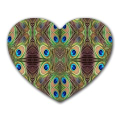 Beautiful Peacock Feathers Seamless Abstract Wallpaper Background Heart Mousepads by Simbadda