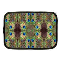 Beautiful Peacock Feathers Seamless Abstract Wallpaper Background Netbook Case (medium)  by Simbadda