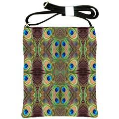 Beautiful Peacock Feathers Seamless Abstract Wallpaper Background Shoulder Sling Bags by Simbadda