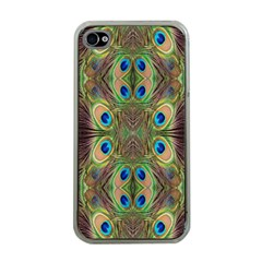 Beautiful Peacock Feathers Seamless Abstract Wallpaper Background Apple Iphone 4 Case (clear) by Simbadda