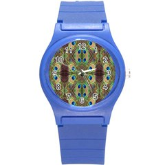 Beautiful Peacock Feathers Seamless Abstract Wallpaper Background Round Plastic Sport Watch (s) by Simbadda