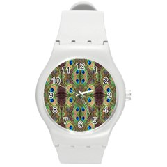 Beautiful Peacock Feathers Seamless Abstract Wallpaper Background Round Plastic Sport Watch (m) by Simbadda