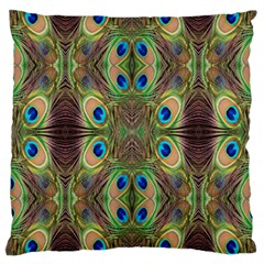 Beautiful Peacock Feathers Seamless Abstract Wallpaper Background Large Cushion Case (one Side) by Simbadda