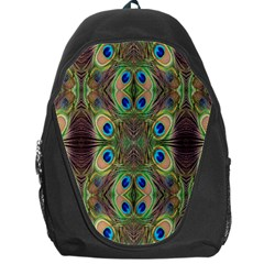 Beautiful Peacock Feathers Seamless Abstract Wallpaper Background Backpack Bag by Simbadda