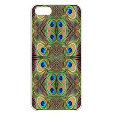 Beautiful Peacock Feathers Seamless Abstract Wallpaper Background Apple Iphone 5 Seamless Case (white) by Simbadda