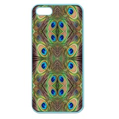 Beautiful Peacock Feathers Seamless Abstract Wallpaper Background Apple Seamless Iphone 5 Case (color) by Simbadda