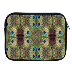 Beautiful Peacock Feathers Seamless Abstract Wallpaper Background Apple Ipad 2/3/4 Zipper Cases by Simbadda