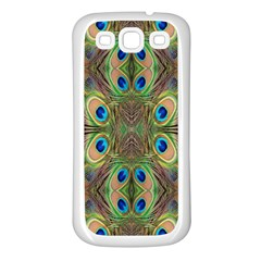 Beautiful Peacock Feathers Seamless Abstract Wallpaper Background Samsung Galaxy S3 Back Case (white) by Simbadda