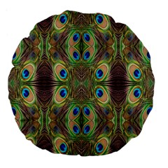 Beautiful Peacock Feathers Seamless Abstract Wallpaper Background Large 18  Premium Flano Round Cushions by Simbadda