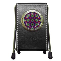 Abstract Pattern Wallpaper Pen Holder Desk Clocks by Simbadda