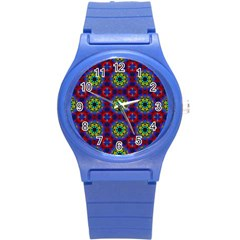 Abstract Pattern Wallpaper Round Plastic Sport Watch (s) by Simbadda