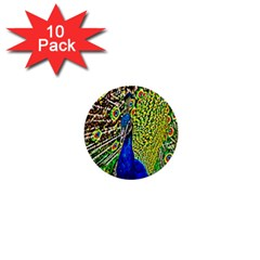 Graphic Painting Of A Peacock 1  Mini Buttons (10 Pack)  by Simbadda