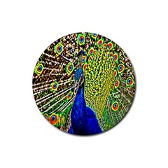 Graphic Painting Of A Peacock Rubber Coaster (round)  by Simbadda
