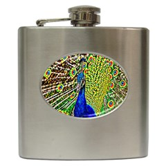 Graphic Painting Of A Peacock Hip Flask (6 Oz) by Simbadda