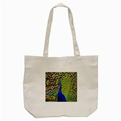 Graphic Painting Of A Peacock Tote Bag (cream) by Simbadda