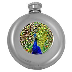 Graphic Painting Of A Peacock Round Hip Flask (5 Oz) by Simbadda