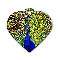 Graphic Painting Of A Peacock Dog Tag Heart (two Sides) by Simbadda
