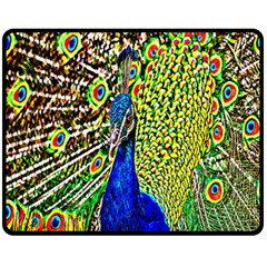 Graphic Painting Of A Peacock Fleece Blanket (medium)  by Simbadda