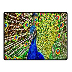 Graphic Painting Of A Peacock Fleece Blanket (small) by Simbadda