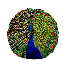 Graphic Painting Of A Peacock Standard 15  Premium Round Cushions by Simbadda