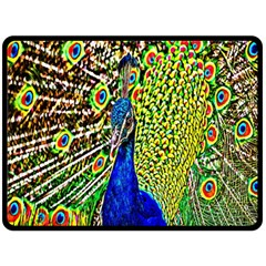 Graphic Painting Of A Peacock Double Sided Fleece Blanket (large)  by Simbadda