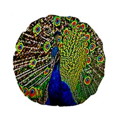 Graphic Painting Of A Peacock Standard 15  Premium Flano Round Cushions by Simbadda