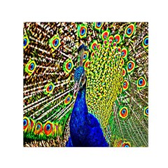 Graphic Painting Of A Peacock Small Satin Scarf (square) by Simbadda