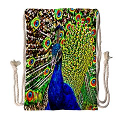 Graphic Painting Of A Peacock Drawstring Bag (large) by Simbadda