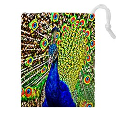 Graphic Painting Of A Peacock Drawstring Pouches (xxl) by Simbadda
