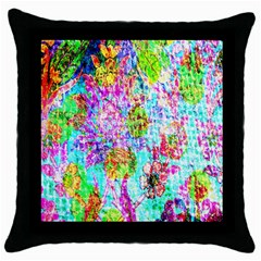 Bright Rainbow Background Throw Pillow Case (black) by Simbadda
