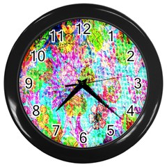 Bright Rainbow Background Wall Clocks (black) by Simbadda