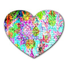 Bright Rainbow Background Heart Mousepads