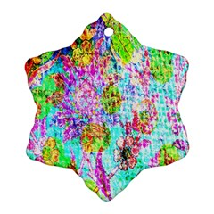 Bright Rainbow Background Snowflake Ornament (two Sides) by Simbadda