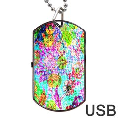 Bright Rainbow Background Dog Tag Usb Flash (one Side) by Simbadda