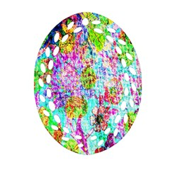 Bright Rainbow Background Ornament (oval Filigree) by Simbadda