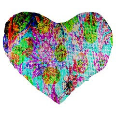 Bright Rainbow Background Large 19  Premium Heart Shape Cushions by Simbadda