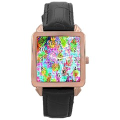 Bright Rainbow Background Rose Gold Leather Watch  by Simbadda