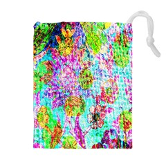 Bright Rainbow Background Drawstring Pouches (extra Large) by Simbadda