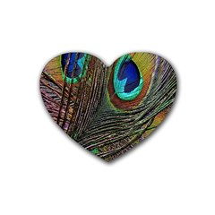 Peacock Feathers Rubber Coaster (heart)  by Simbadda