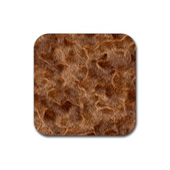 Brown Seamless Animal Fur Pattern Rubber Square Coaster (4 Pack)  by Simbadda