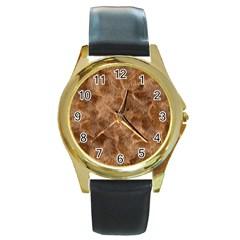 Brown Seamless Animal Fur Pattern Round Gold Metal Watch by Simbadda