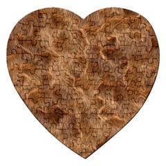 Brown Seamless Animal Fur Pattern Jigsaw Puzzle (heart) by Simbadda
