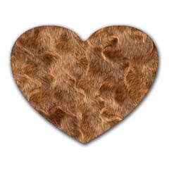 Brown Seamless Animal Fur Pattern Heart Mousepads by Simbadda