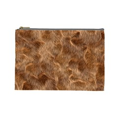 Brown Seamless Animal Fur Pattern Cosmetic Bag (large)  by Simbadda