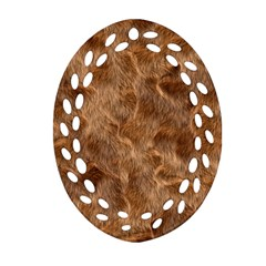 Brown Seamless Animal Fur Pattern Oval Filigree Ornament (two Sides) by Simbadda