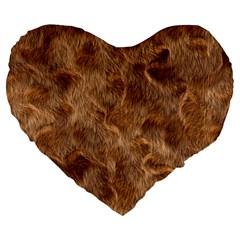 Brown Seamless Animal Fur Pattern Large 19  Premium Heart Shape Cushions by Simbadda