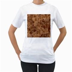 Brown Seamless Animal Fur Pattern Women s T-Shirt (White)